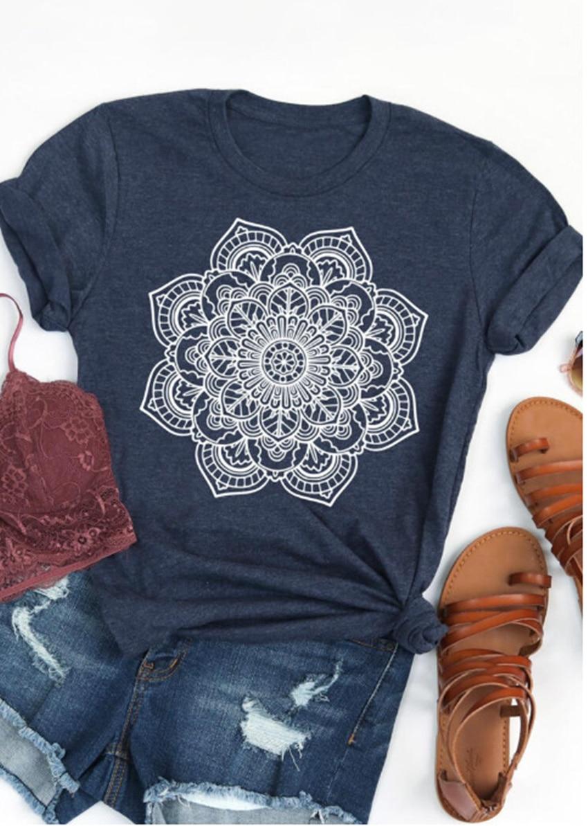 T-Shirt en Coton - Fleur Mandala - S au XL