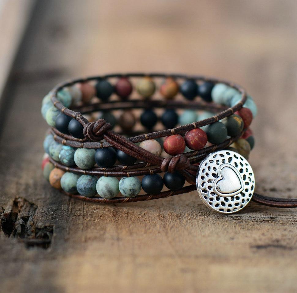 Bracelet vintage multi-couleurs - Cuir et Pierres naturelles