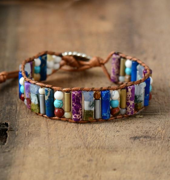 Bracelet Protecteur - Cuir, Perles et Pierres naturelles - 3 Coloris au choix