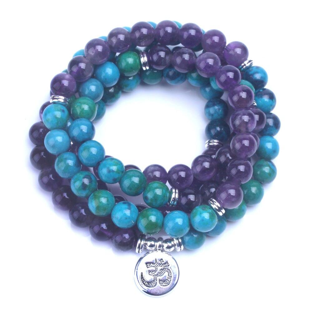 Bracelet de guérison - Amethyste - 108 perles mala - Métal OM, Bouddha ou Fleurs de Lotus