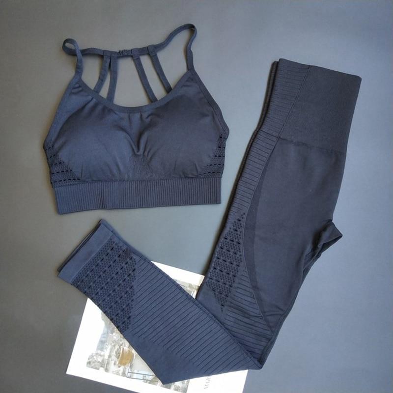 Legging et brassière de yoga - Sans couture - Multiples bretelles