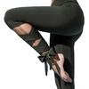 Legging de Yoga - Bandelettes à Nouer - Lacets - Danse - Kaki - taille S
