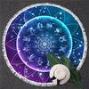 Serviette de méditation ou Fouta de plage rond - Signes astrologiques - 2 Motifs au choix - Bleu
