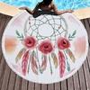Serviette de méditation ou de plage ronde - Inspiration Attrape rêve indien - motif fleur