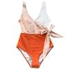 Monokini Patchwork avec ceinture - Abricot et Orange - XL
