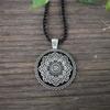 Collier mandala fleur pendentif zen yoga argenté