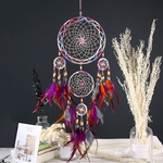 Attrape rêve Cinq anneaux - Perles de couleurs et Plumes - Entièrement fait Main