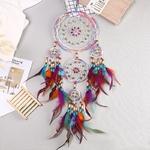 Capteur de rêve - Attrape rêve Cinq anneaux - Perles de couleurs et Plumes - Entièrement fait Main