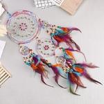 fait main - Attrape rêve Cinq anneaux - Perles de couleurs et Plumes
