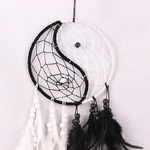 Capteur de rêve Yin et Yang - Plumes - Noir et blanc