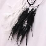 zoom Capteur de rêve Yin et Yang - Plumes - Noir et blanc