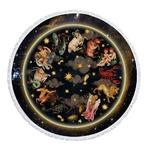 Serviette de méditation ou Fouta de plage rond - Signe du zodiaque - 2 Motifs au choix
