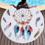 Tapis de méditation ou de plage ronde - Inspiration Attrape rêve indien - Dreamcatcher