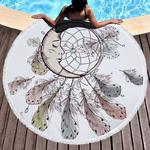 Serviette de méditation ou de plage ronde - Inspiration Attrape rêve indien - motif lune