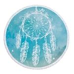 Serviette de méditation ou de plage ronde - Inspiration Attrape rêve indien bleu