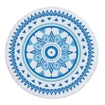 Serviette de méditation ou de plage ronde Mandala Bleu et blanche - 12 motifs