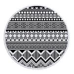 Serviette de méditation ou de plage ronde Mandala noire et blanche