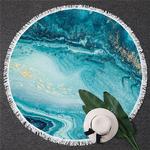 Serviette de méditation ou de plage ronde - Inspiration minérale - bleu océan et or