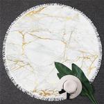 Serviette de méditation ou de plage ronde - Inspiration minérale - blanche et dorée