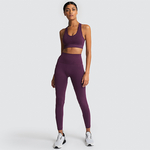 Ensemble de yoga sans couture - 2 pièces Leggings et Brassières rembourrées - S - violet foncé