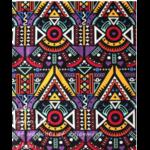 Tissu ou Nappe imprimé Tribal afro - Coton et Lin - jaune