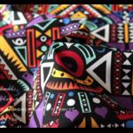 Tissu ou Nappe imprimé Tribal - Coton et Lin - violet et jaune