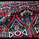 Tissu ou Nappe imprimé Tribal - Coton et Lin - rose et blanc