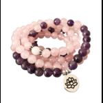 Bracelet mala calme et Paix intérieur - Améthyste rose - lotus