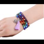 Mala Bracelet ethnique de méditation - Améthyste - Lapis lazuli - Jade - 108 Pierres naturelles