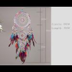 dimensions Attrape rêve  Cinq anneaux  - Perles de couleurs et Plumes - Entièrement fait Main