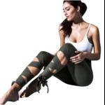 Passion yoga - legging de yoga avec bandelettes à nouer