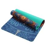 Tapis de yoga effet velours - Motifs indiens - Ecolo - 6 MM - bleu-vert
