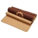 Tapis de yoga effet daim - Motifs indiens - Ecolo - 6 MM - marron