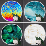Serviette de méditation ou de plage ronde - Inspiration Minérale - 12 Modèles au choix