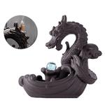 Idée cadeau Porte-encens Dragon boule de cristal - En céramique - Avec cascade - Passion yoga