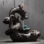 Idée cadeau original Porte-encens Dragon boule de cristal - En céramique - Avec cascade