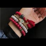 Manava - Bracelets en perles naturelles rouge - passion yoga