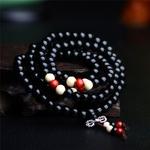 Passion yoga - AMAYA - Bracelet mala en bois de santal naturel - 108 perles noir