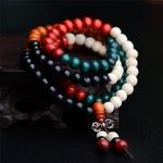 Passion yoga - AMAYA - Bracelet mala en bois de santal naturel - 108 perles multicouleur