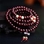 AMAYA - Bracelet mala en bois de santal naturel - 108 perles bordeaux