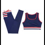 Tommy - Legging + Brassière de Yoga - Bleu - Blanc - Rouge