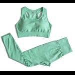 Passion yoga - Legging + Brassière sans couture et respirant - vert