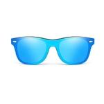 Passion Yoga - Lunettes de Soleil - Effet Miroir - Bois - Bleu
