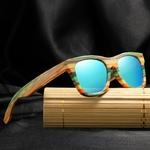 Passion yoga - Lunettes de soleil Colorblock + Etui - Bambou naturel - Mixte - bleu ciel