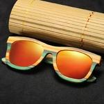 Passion yoga - Lunettes de soleil Colorblock + Etui - Bambou naturel - Mixte - orange