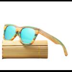 Lunettes de soleil Colorblock + Etui - Bambou naturel - Mixte - bleu