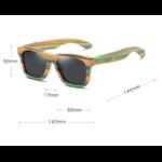 Dimensions Lunettes de soleil Colorblock + Etui - Bambou naturel - Mixte - Pour Homme et Femme
