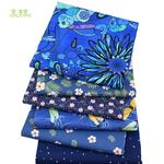 Lot de 6 carrés de tissus - Coton - Imprimés Fleurs Bleu Royal - couture