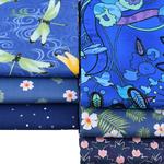 Lot de 6 carrés de tissus - Coton - Imprimés Fleurs Bleu Royal - Masques