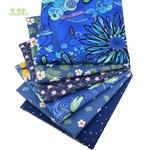 Lot de 6 carrés de tissus - Coton - Imprimés Fleurs Bleu roi